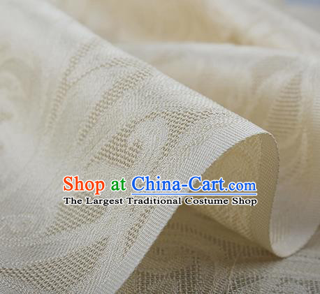 Traditional Chinese Classical Phoenix Flower Pattern Design Beige Silk Fabric Ancient Hanfu Dress Silk Cloth