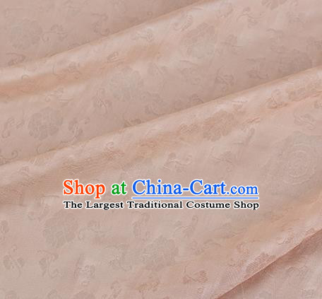 Traditional Chinese Classical Flower Pattern Design Light Orange Silk Fabric Ancient Hanfu Dress Silk Cloth