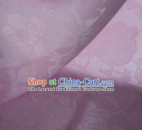 Traditional Chinese Classical Hibiscus Peony Pattern Design Lilac Silk Fabric Ancient Hanfu Dress Silk Cloth