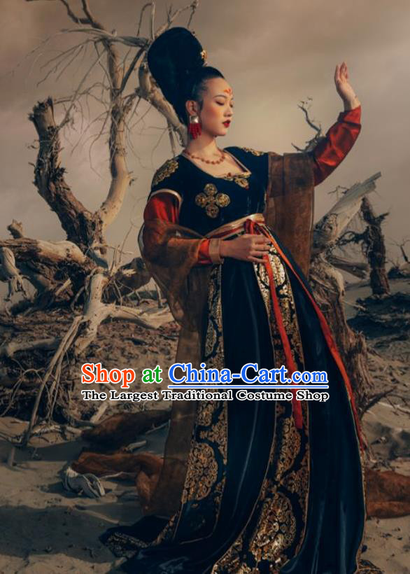 Traditional Chinese Ancient Court Apsaras Dance Black Hanfu Dress Tang Dynasty Royal Princess Replica Costume for Women