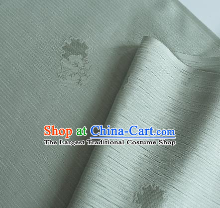 Traditional Chinese Classical Flowers Pattern Design Grey Silk Fabric Ancient Hanfu Dress Silk Cloth