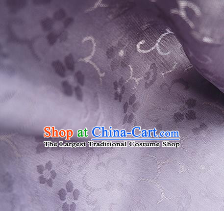 Traditional Chinese Classical Cherry Blossom Pattern Design Lilac Silk Fabric Ancient Hanfu Dress Silk Cloth