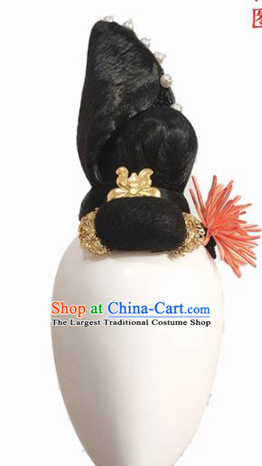 Chinese Traditional Classical Dance Hair Accessories Yang Yin Dance Wig Chignon Headdress for Women