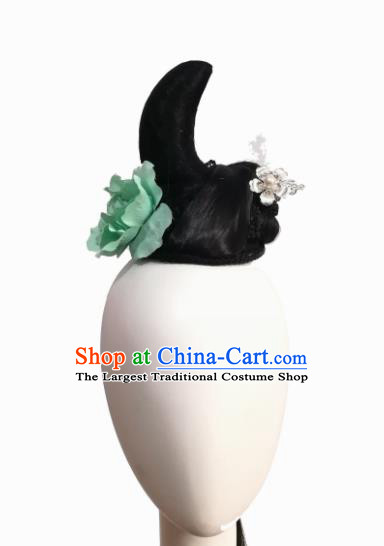 Traditional Chinese Classical Dance Xi Shang Mei Shao Hair Accessories Fan Dance Wig Chignon Headdress for Women