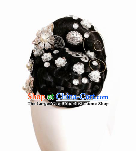 Traditional Chinese Classical Dance Jin Yu Bi He Hair Accessories Fan Dance Wig Chignon Headdress for Women
