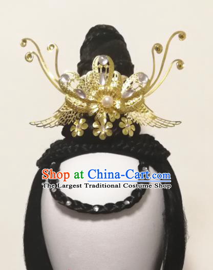 Traditional Chinese Classical Dance Hair Accessories Water Sleeve Dance Wig Chignon Headdress for Women