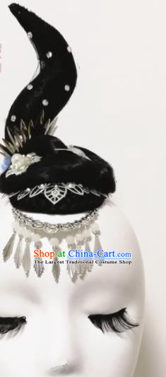 Traditional Chinese Classical Dance Memory In Water Hair Accessories Water Sleeve Dance Wig Chignon Headdress for Women