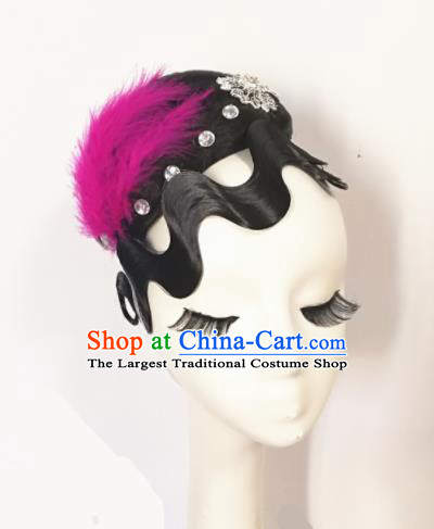 Traditional Chinese Classical Dance Flowers of Shanghai Hair Accessories Water Sleeve Dance Wig Chignon Headdress for Women