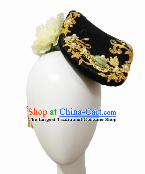 Chinese Traditional Classical Dance Li Bai Hair Accessories Fan Dance Wig Chignon Headdress for Women