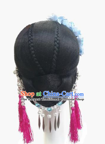 Traditional Chinese Classical Dance Waves Hair Accessories Water Sleeve Dance Wig Chignon Headdress for Women