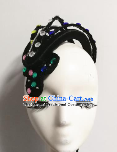 Traditional Chinese Classical Dance Snake Hair Accessories Water Sleeve Dance Wig Chignon Headdress for Women