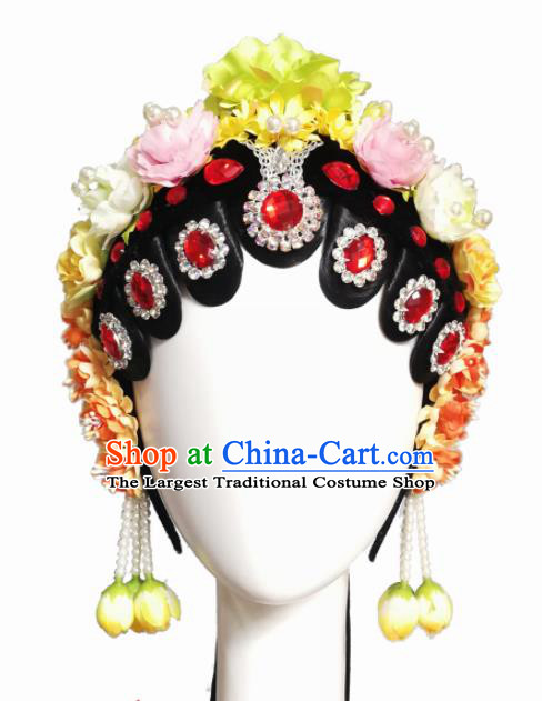 Chinese Traditional Classical Dance Beijing Opera Hair Accessories Fan Dance Wig Chignon Headdress for Women