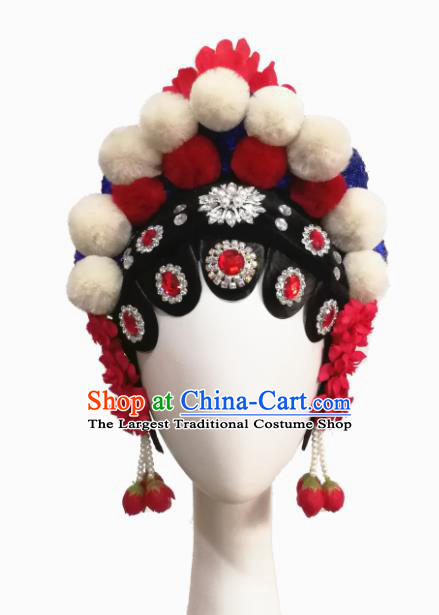 Chinese Traditional Beijing Opera Classical Dance Hair Accessories Fan Dance Wig Chignon Headdress for Women