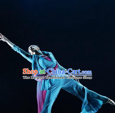 Chinese Traditional Classical Dance Fan Dance Blue Outfits Group Dance Costume for Women