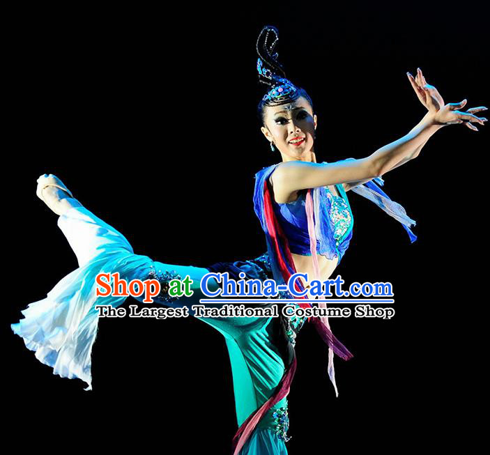 Chinese Traditional Classical Dance Dunhuang Flying Dance Blue Outfits Group Dance Costume for Women