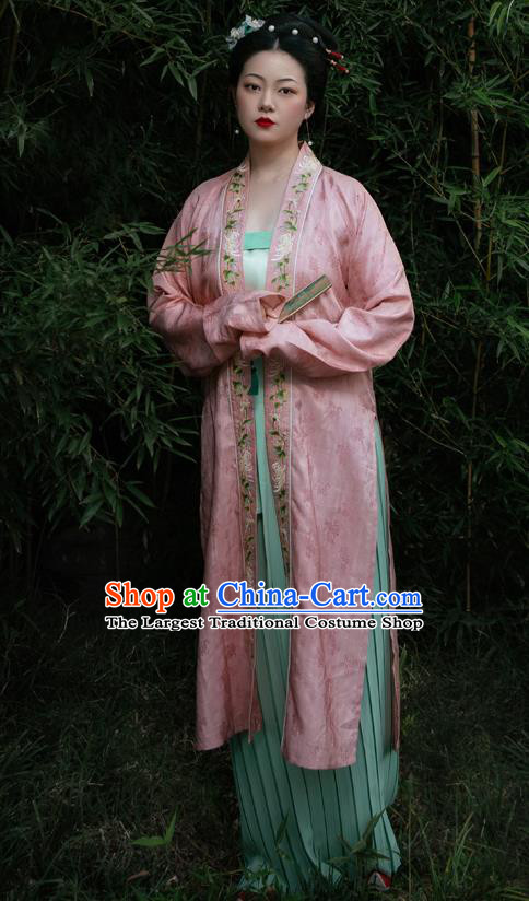 Chinese Ancient Nobility Female Embroidered Hanfu Dress Traditional Song Dynasty Princess Replica Costume for Women