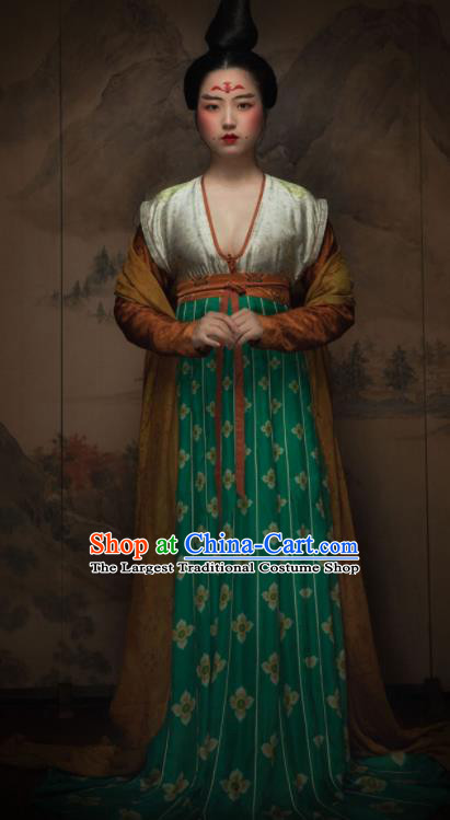 Chinese Ancient Tang Dynasty Las Meninas Silk Hanfu Dress Traditional Court Maid Replica Costume for Women