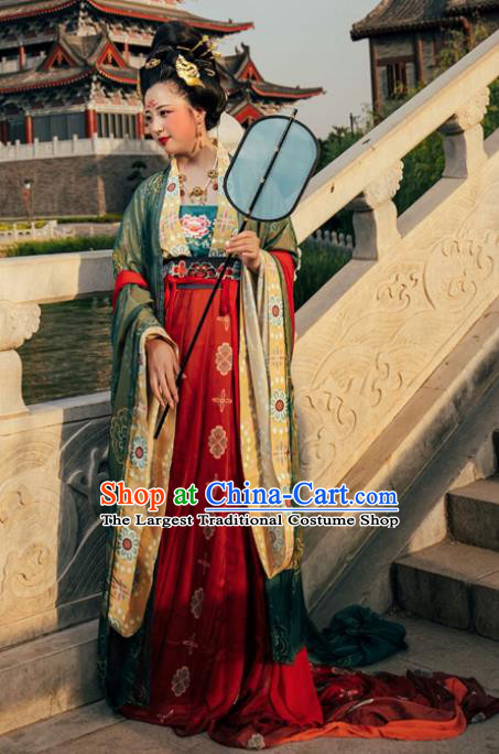 Chinese Tang Dynasty Wedding Hanfu Dress Traditional Ancient Court Queen Replica Costume for Women