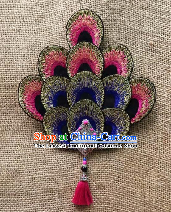 Chinese Traditional Dai Ethnic Hair Accessories Peacock Dance Embroidered Hair Claw Headwear for Women