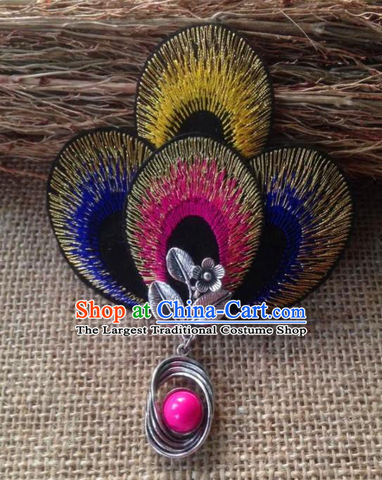 Chinese Traditional Ethnic Colorful Embroidered Hair Claw Hair Accessories Minority Peacock Dance Headwear for Women