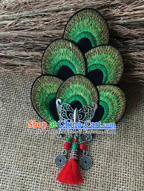 Chinese Traditional Ethnic Green Embroidered Hair Claw Hair Accessories Minority Peacock Dance Headwear for Women