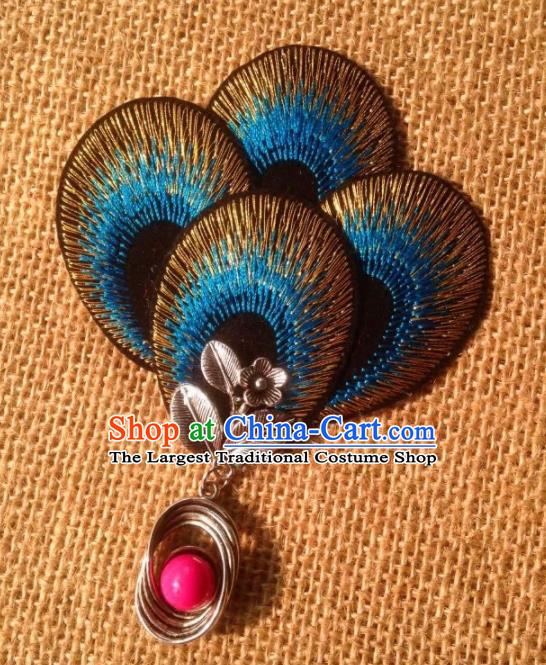 Chinese Traditional Ethnic Blue Embroidered Hair Claw Hair Accessories Minority Peacock Dance Headwear for Women