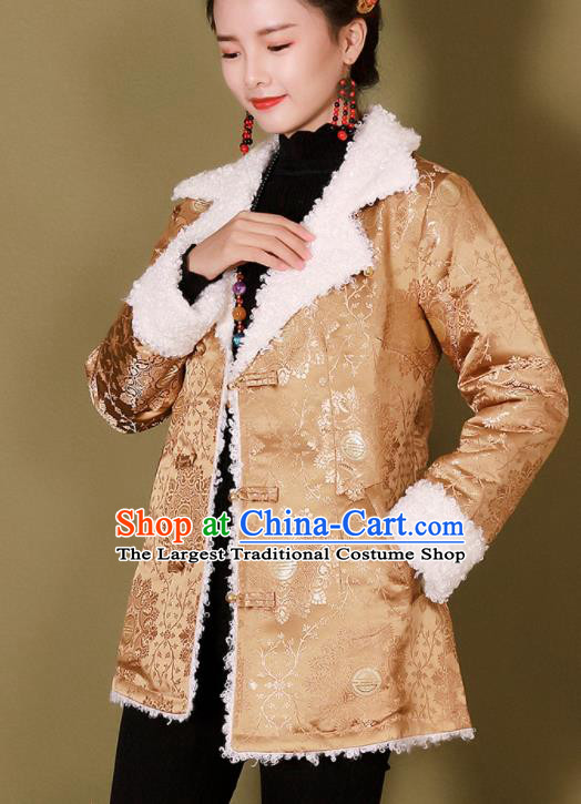 Traditional Chinese Zang Ethnic Golden Cotton Wadded Jacket Tibetan Minority Costume for Women