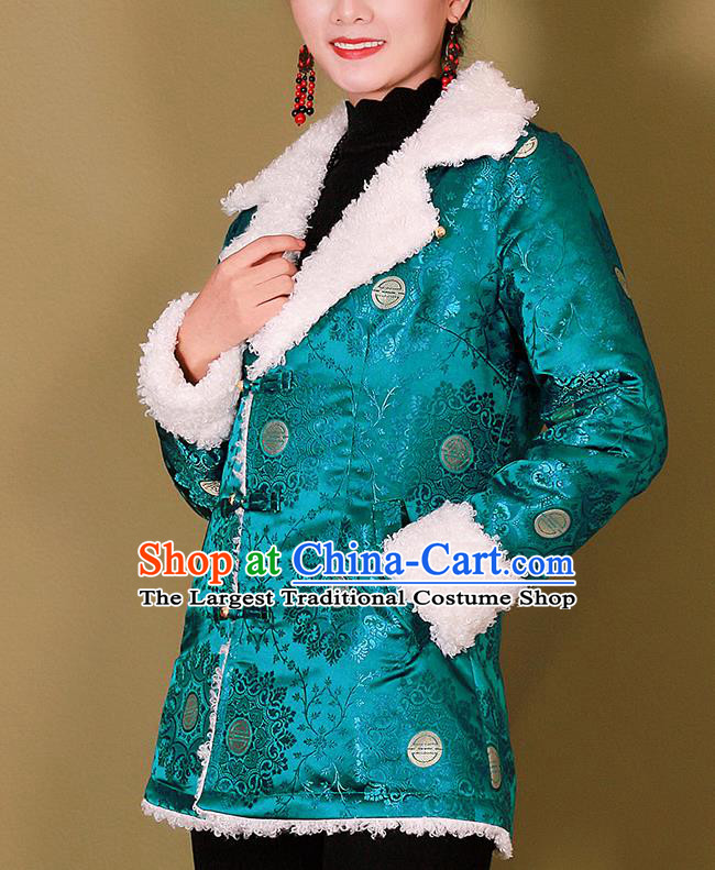 Traditional Chinese Zang Ethnic Blue Cotton Wadded Jacket Tibetan Minority Costume for Women