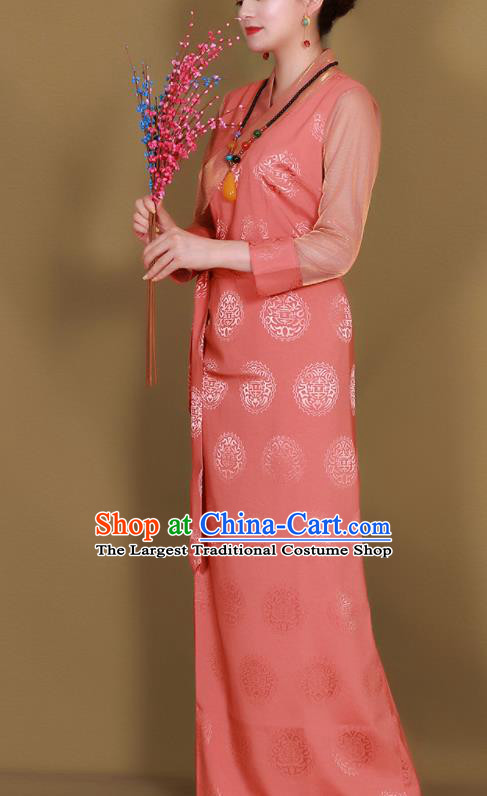 Traditional Chinese Zang Ethnic Pink Heishui Dress Tibetan Minority Folk Dance Costume for Women