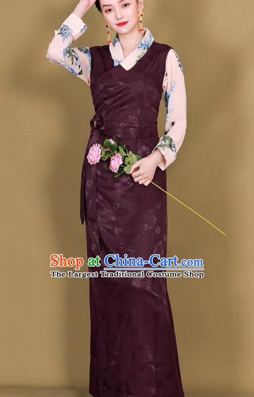 Traditional Chinese Zang Ethnic Deep Purple Guozhuang Dress Tibetan Minority Folk Dance Costume for Women