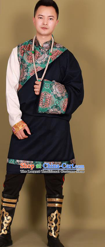 Chinese Traditional Ethnic Black Tibetan Robe Zang Nationality Costume for Men