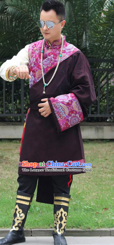 Chinese Traditional Ethnic Deep Purple Tibetan Robe Zang Nationality Costume for Men