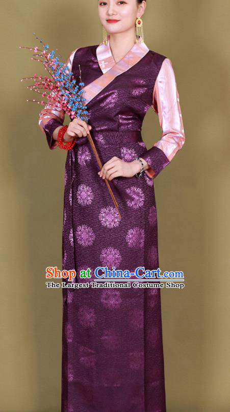 Traditional Chinese Zang Ethnic Kangba Purple Silk Dress Tibetan Minority Folk Dance Costume for Women
