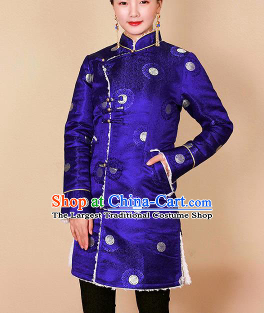 Traditional Chinese Zang Ethnic Royalblue Cotton Padded Jacket Tibetan Minority Upper Outer Garment Winter Costume for Women