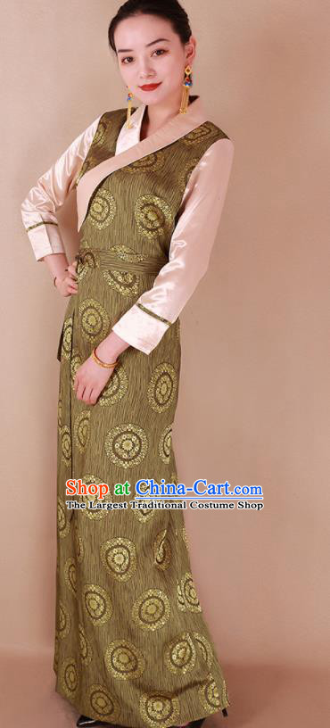 Traditional Chinese Zang Ethnic Olive Green Silk Dress Tibetan Minority Folk Dance Costume for Women