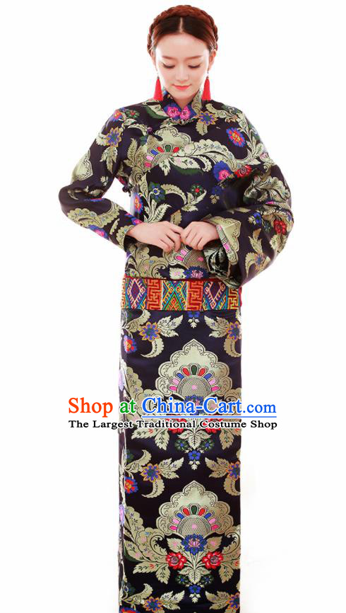 Traditional Chinese Zang Ethnic Folk Dance Black Robe Tibetan Minority Wedding Costume for Women