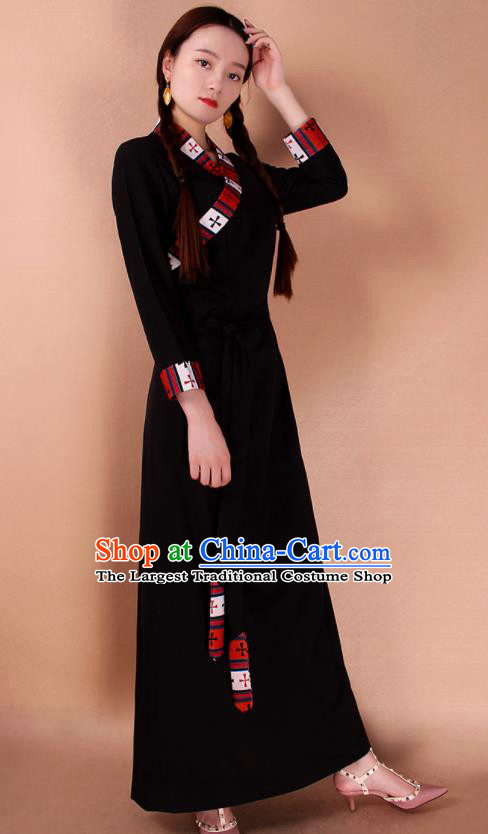 Traditional Chinese Zang Ethnic Black Dress Tibetan Minority Folk Dance Costume for Women