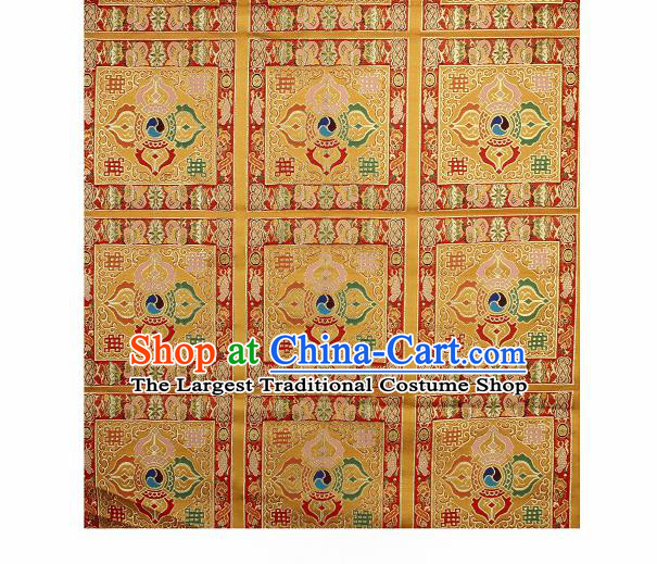 Asian Chinese Traditional Pattern Golden Brocade Buddhism Tibetan Robe Satin Fabric Chinese Silk Material