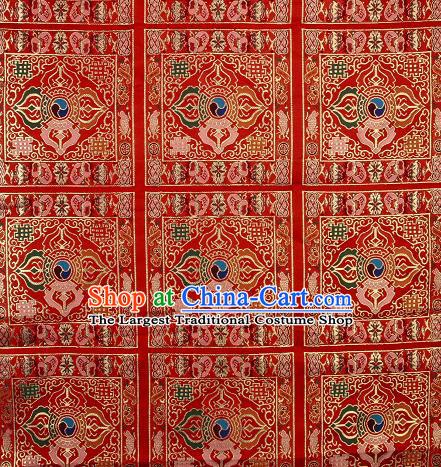 Asian Chinese Traditional Pattern Red Brocade Buddhism Tibetan Robe Satin Fabric Chinese Silk Material