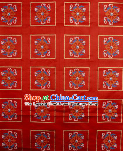 Asian Chinese Traditional Buddhism Wheel Pattern Red Brocade Tibetan Robe Satin Fabric Silk Material