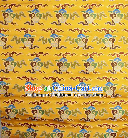 Asian Chinese Traditional Buddhism Auspicious Cloud Pattern Golden Brocade Tibetan Robe Satin Fabric Silk Material