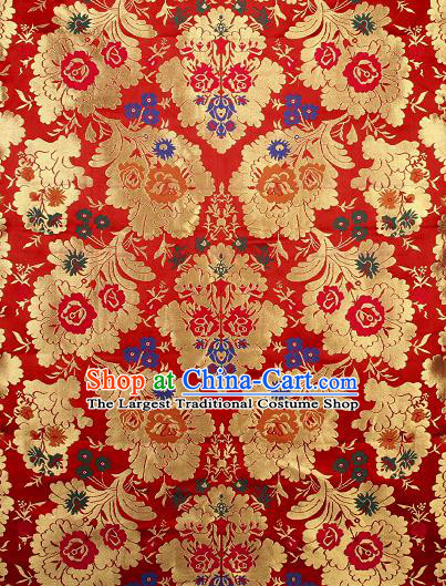 Asian Chinese Traditional Pattern Red Brocade Tibetan Robe Satin Fabric Silk Material