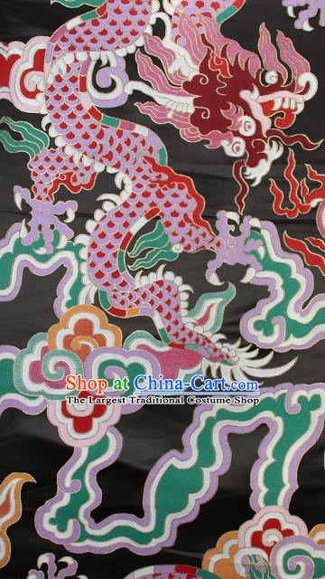 Asian Chinese Traditional Colorful Cloud Dragon Pattern Black Brocade Tibetan Robe Satin Fabric Silk Material