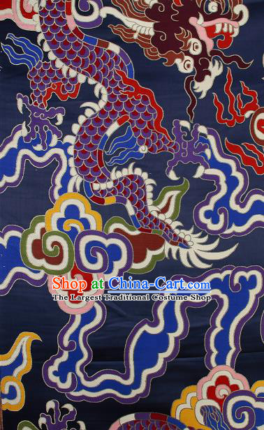 Asian Chinese Traditional Colorful Cloud Dragon Pattern Navy Brocade Tibetan Robe Satin Fabric Silk Material