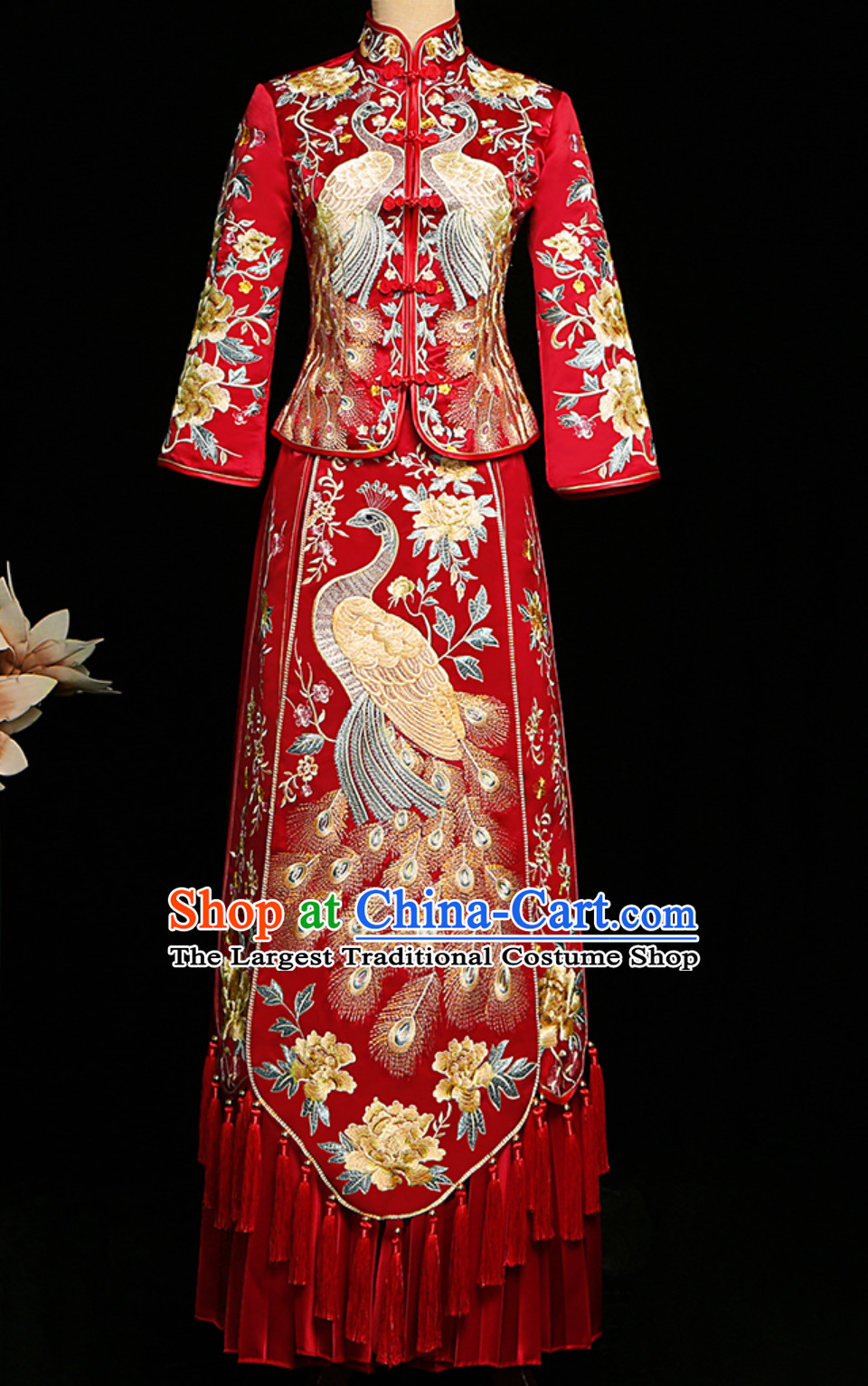 Top Red Tassels Chinese Classical Embroidered Phoenix Ancient Bride Wedding Dresses for Women