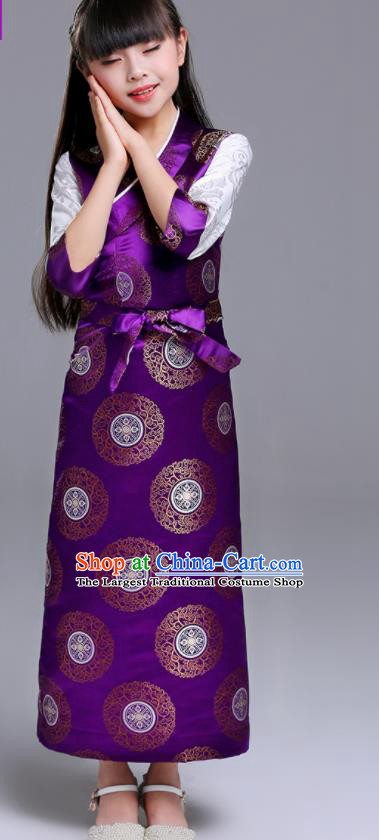 Traditional Chinese Zang Ethnic Girls Purple Dress Tibetan Minority Folk Dance Costume for Kids