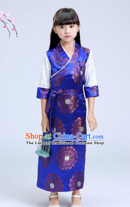 Traditional Chinese Zang Ethnic Girls Royalblue Brocade Dress Tibetan Minority Folk Dance Costume for Kids