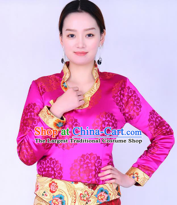 Traditional Chinese Zang Ethnic Rosy Brocade Blouse Tibetan Minority Folk Dance Shirt Costume for Women