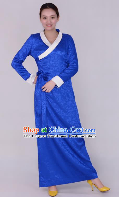 Traditional Chinese Zang Ethnic Folk Dance Royalblue Dress Tibetan Minority Costume for Women