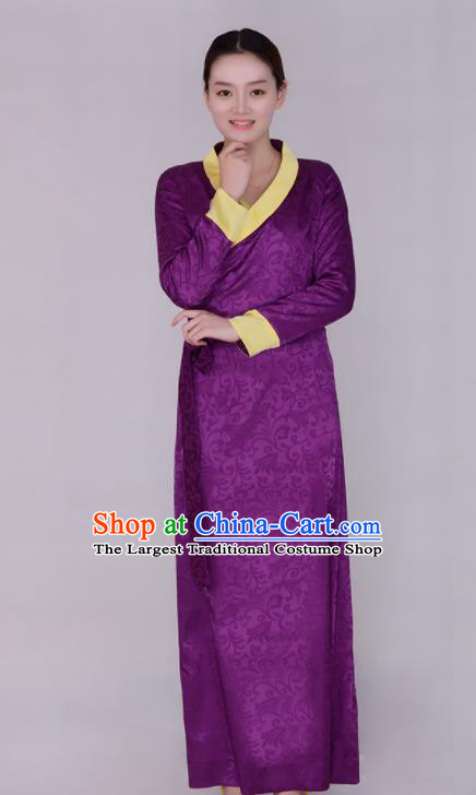 Traditional Chinese Zang Ethnic Folk Dance Purple Dress Tibetan Minority Costume for Women
